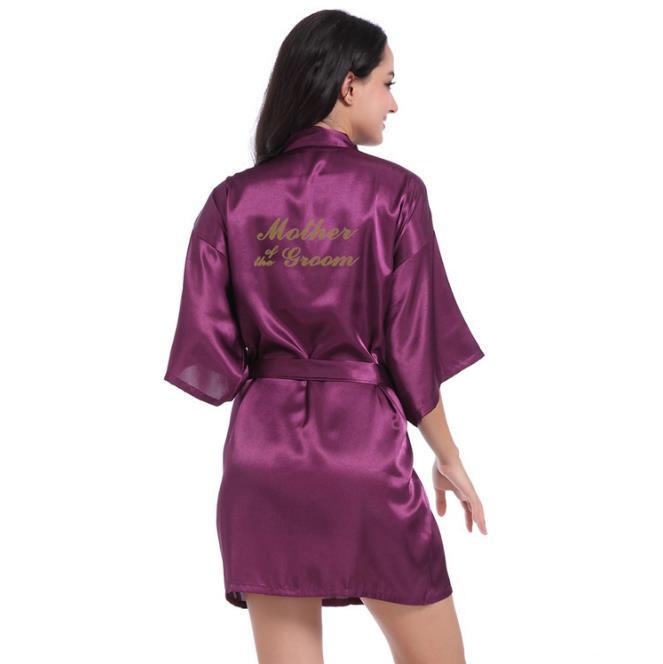 Рубашка Свадебный шелковый атлас Халат Халат Халат Новый oye Темно-фиолетовый L фото
