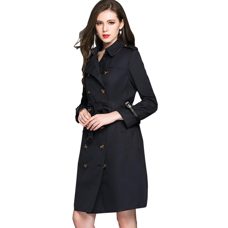 BURDULLY черный XL BURDULLY Double Breasted Long Trench Coat Para As Mulheres 2018 Большой размер