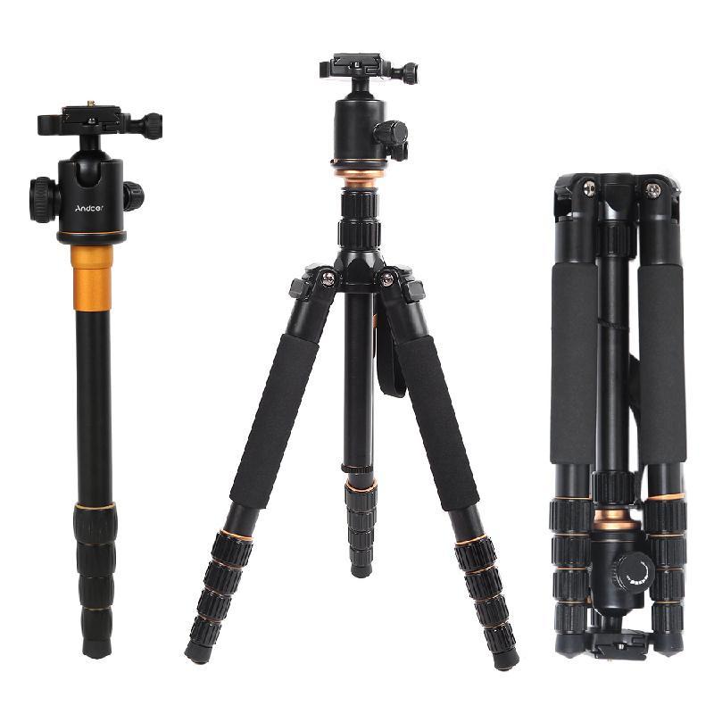 ANDOER черный qzsd q777c professional carbon fiber tripod monopod ball head tripod portable travel photo tripod for digital slr dslr camera