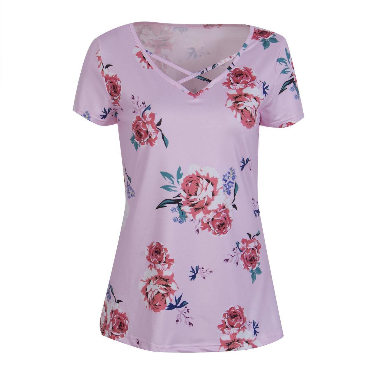Блузка Летние шорты втулки Loose Цветочные дамы вскользь женщины CANIS Голубовато-зеленый M фото