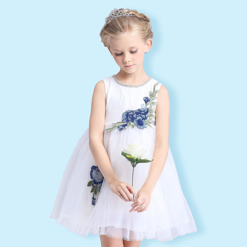 TOSJC A21 7T 150cm flower girl dresses wedding easter junior bridesmaid white curl princess girl dress