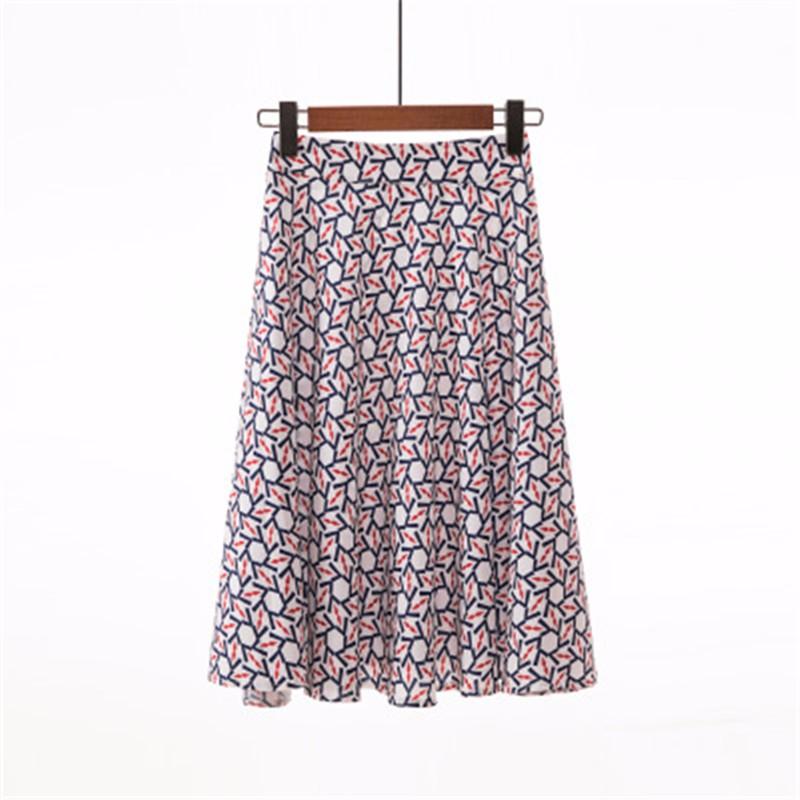 Юбка миди юбка эластичная талия высокая талия юбка юбка лето SAKAZY Темно-синий S фото