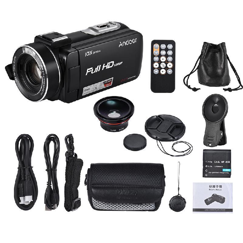 Цифровая видеокамера 1080P 24-мегапиксельная ANDOER черный Спортивная фотография фото