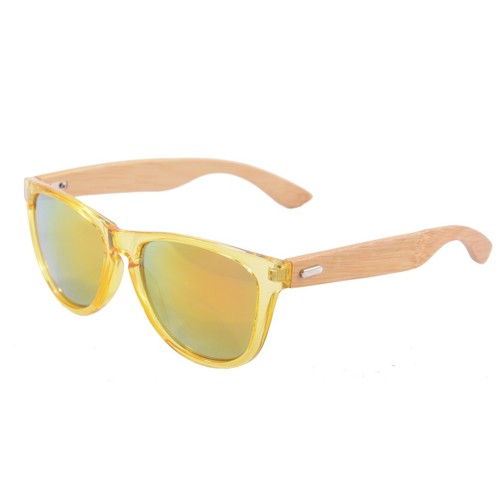 SHINU прозрачные желтые рамки бамбуковые ножки оранжевые линзы солнцезащитные очки tomas maier солнцезащитные очки