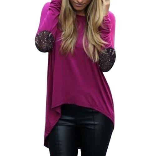 CT&HF Фиолетовый цвет Номер L женщины Нерегулярное Футболка