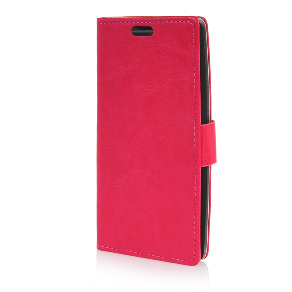 MOONCASE mooncase matte skin flip leather wallet card slot stand back чехол для sony xperia m4 aqua hot pink
