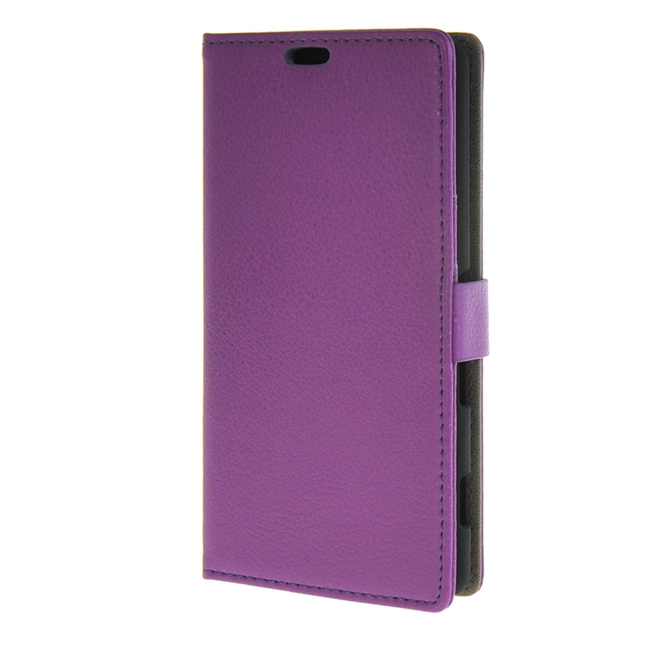 MOONCASE mooncase smooth pu leather flip wallet card slot bracket back чехол для sony xperia m4 aqua purple