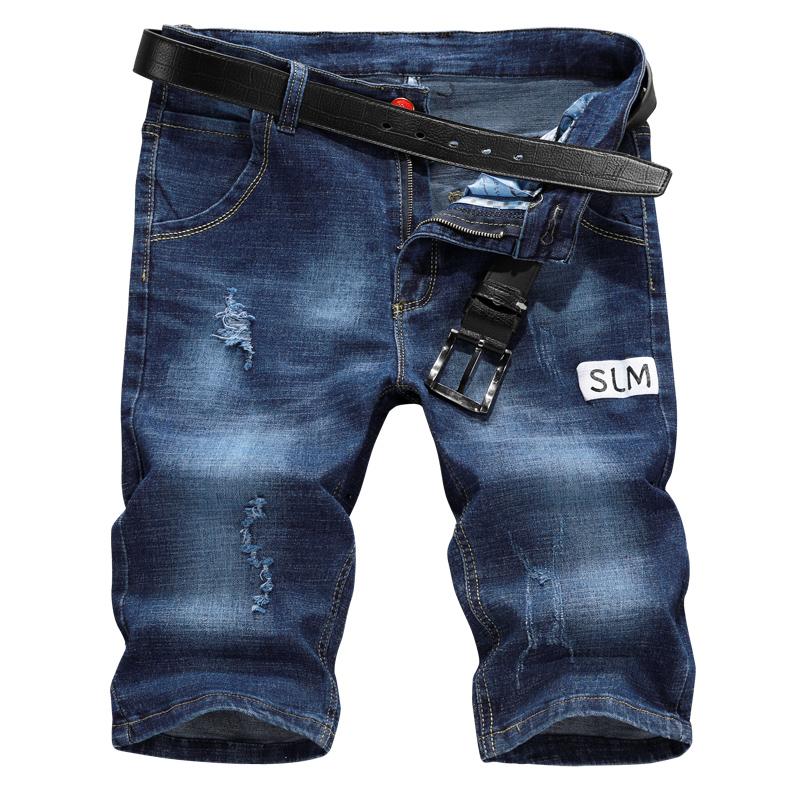 DaMaiZhang темно-синий 31 семировые джинсы мужские с низкой талией личности дыры ковбойские штаны для ног 19416241111 ковбой темно синий 31