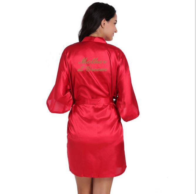 Рубашка Свадебный шелковый атлас Халат Халат Халат Новый oye Красные даты S фото
