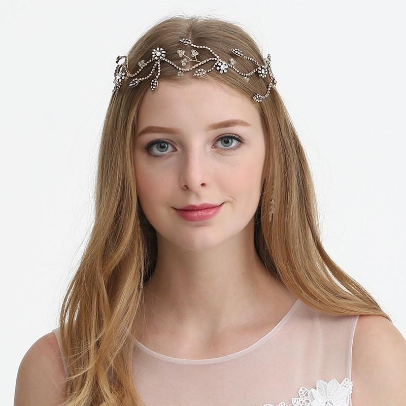 JONNAFE старинное золото модный newborn bebe sparkling pearls elastic headband rhinestone gold silver hair bands girls photography props hair accessories