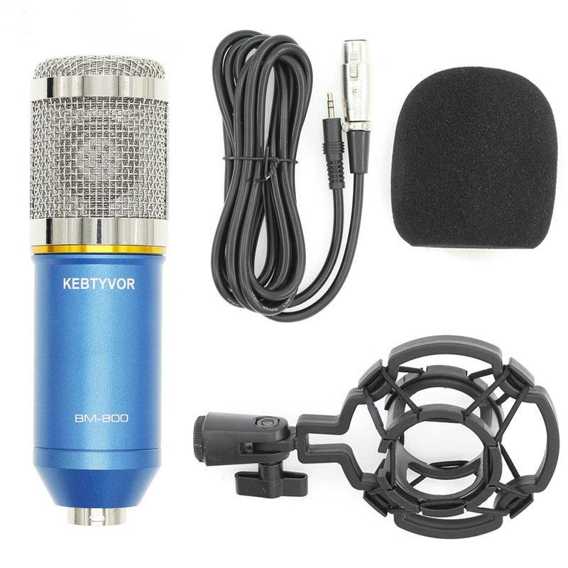 KEBTYVOR Blue bm 800 condenser sound recording microphone with shock mount