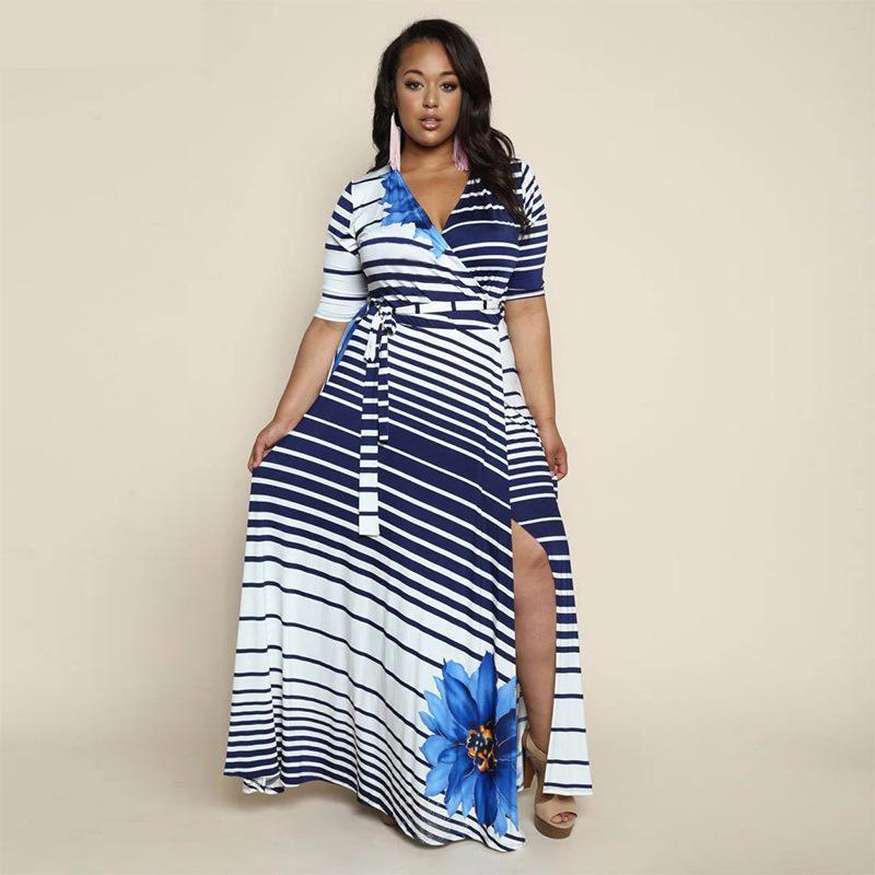 Платье платья шикарное платье женщин летнее платье SAKAZY синий XL фото