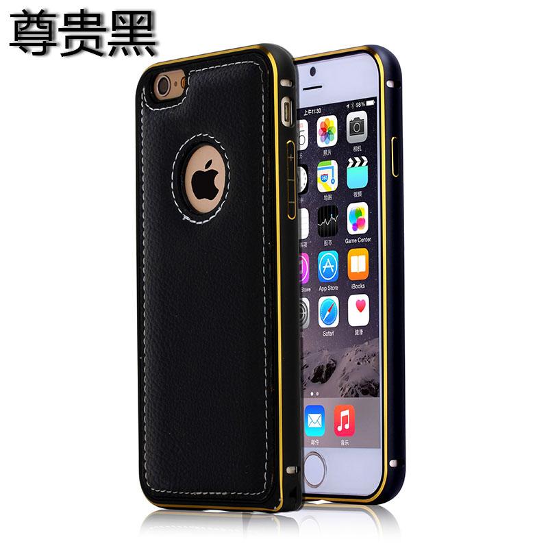 Телефон Защита жесткого пластика задняя крышка Встроенная кожи чехол BRG Черный iPhone 6 фото