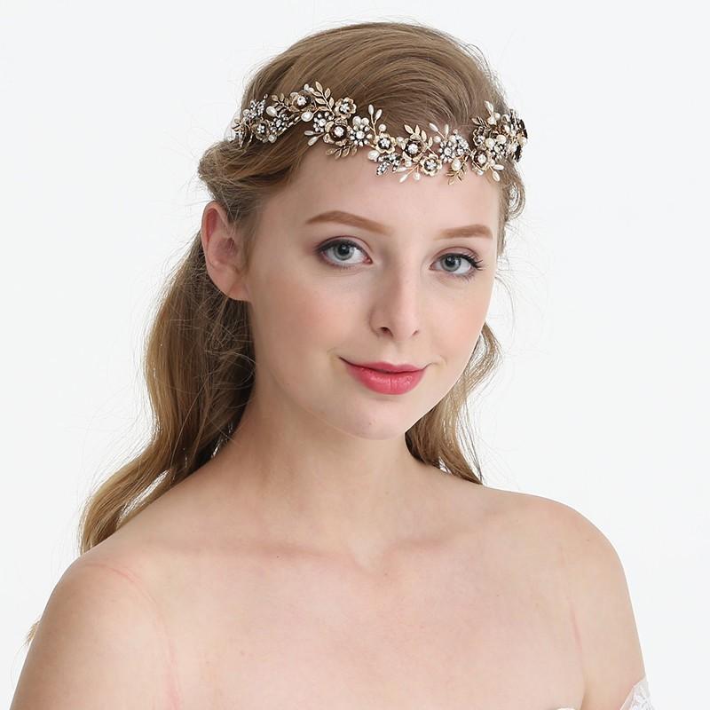 JONNAFE старинное золото модный luxurious stainless steel shiny flower and leaf w rhinestone pearl hair band headband silver