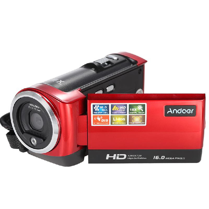 ANDOER красный hd 55e 2 7 tft cmos 16mp interpolation digital camcorder w 16x digital zoom black