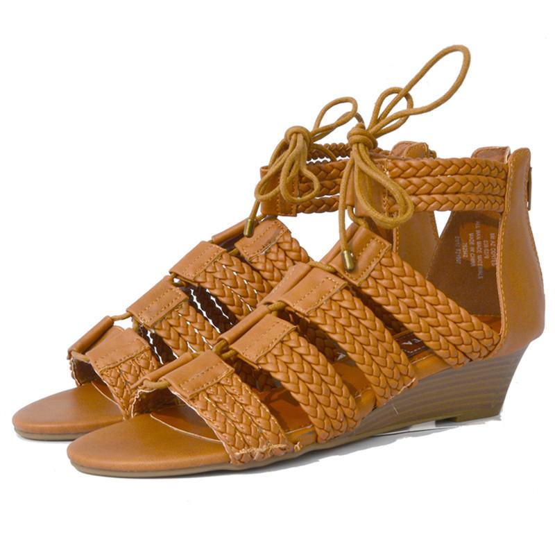 NINGUTA Хаки 42 2016 новое прибытие из натуральной кожи большой размер 33 42 черный бежевый мода повседневная удобные женские летние клинья обувь сандалии l228