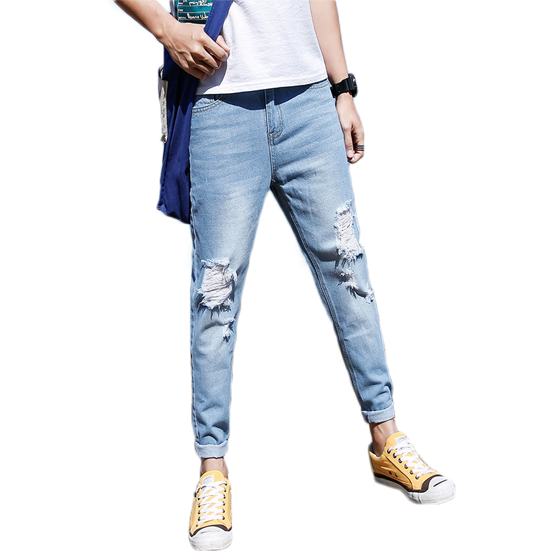DaMaiZhang Blue 30 2017 new brand men jeans style mens washed denim pants ripped jeans large size male casual straight slim wholesale jeans 2081