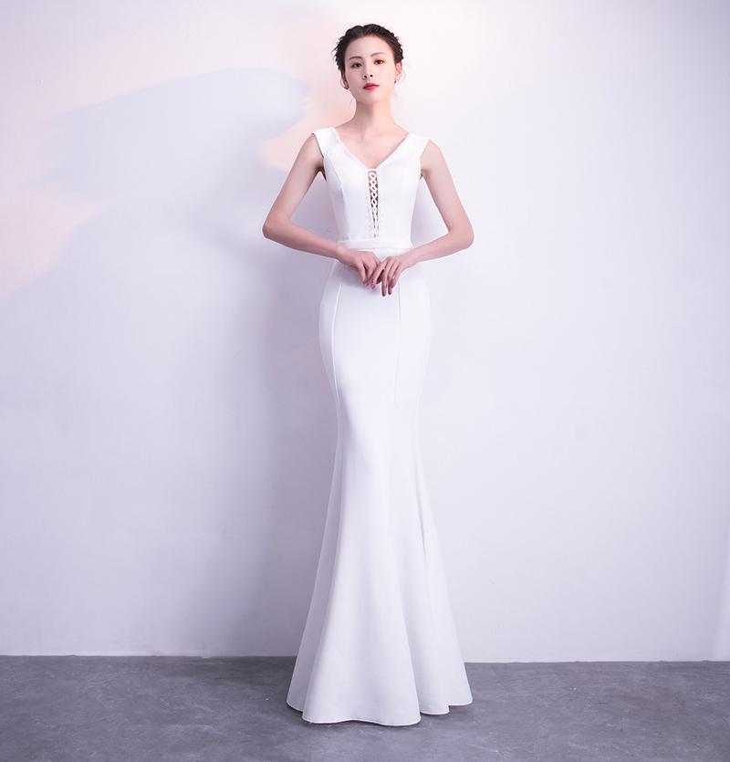 Элегантное длинное вечернее платье для недоуздок Kalinnu белый XL фото
