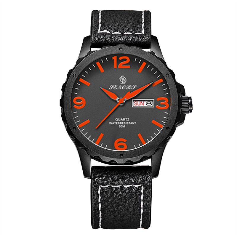 SENORS оранжевый Мужские наручные часы черного пояса doxa мужские швейцарские наручные часы doxa 155 10 151 010