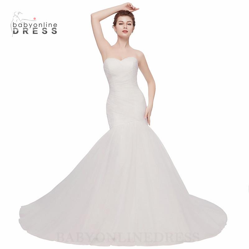 Babyonlineress Simple Mermaid Tulle Wedding Dresses 2018 Свадебное платье без бретелек малыш платье белый США 12 Великобритания 16 ЕС 42 фото