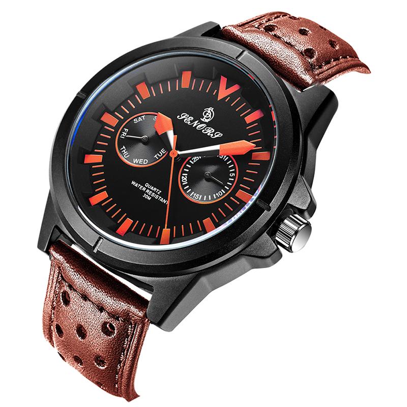 SENORS оранжевый Мужские наручные часы черного пояса shensee ® gofuly 2015 новый 4 стили роскошь моды крокодил лже кожа мужчин аналоговые часы кварцевые часы специально для мужчин