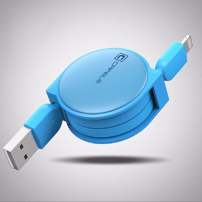 Cafele Blue 1M baseus new era 0 9m lightning 8pin charging data sync retractable charge cable for iphone 7 plus 7 etc ios 10 9 8 gold
