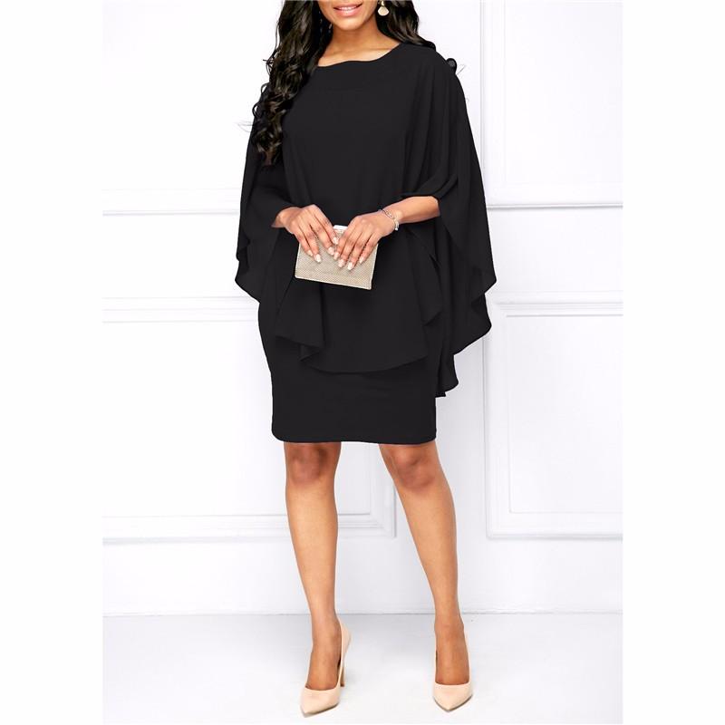Платье платья шикарное платье женщин платье венчания платья лета SAKAZY черный XXL фото
