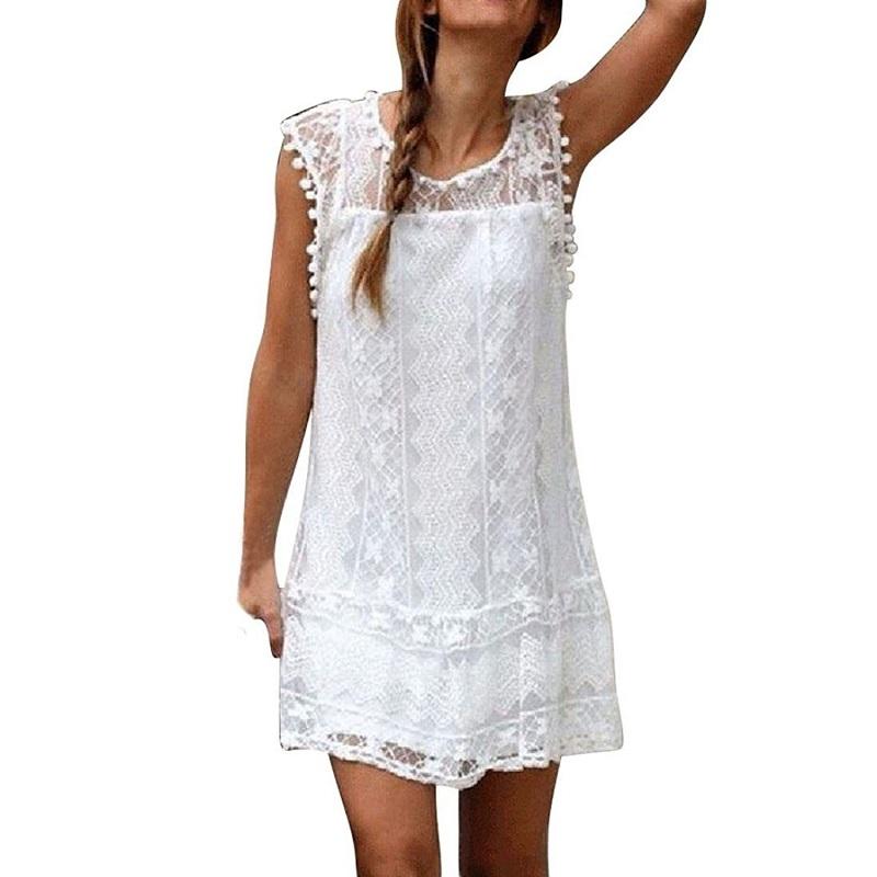 Летнее платье женщин случайного пляжа платье мини-кружева платье сексуальное платье белое платье Colorful panda белый XL фото