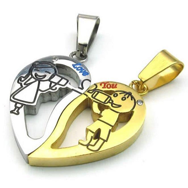Hpolw hpolw 2шт мужские и женские сердечных узор черный и серебряный нержавеющая сталь пар гравировкой ожерелья кулоны 18 и 22 дюйма цепи