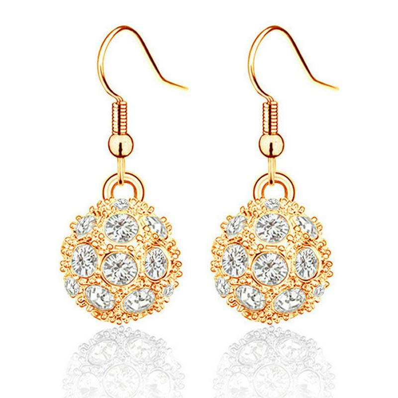 yoursfs Золото 1 пара леди моды золото себя кулон серьги бриллиантовые серьги