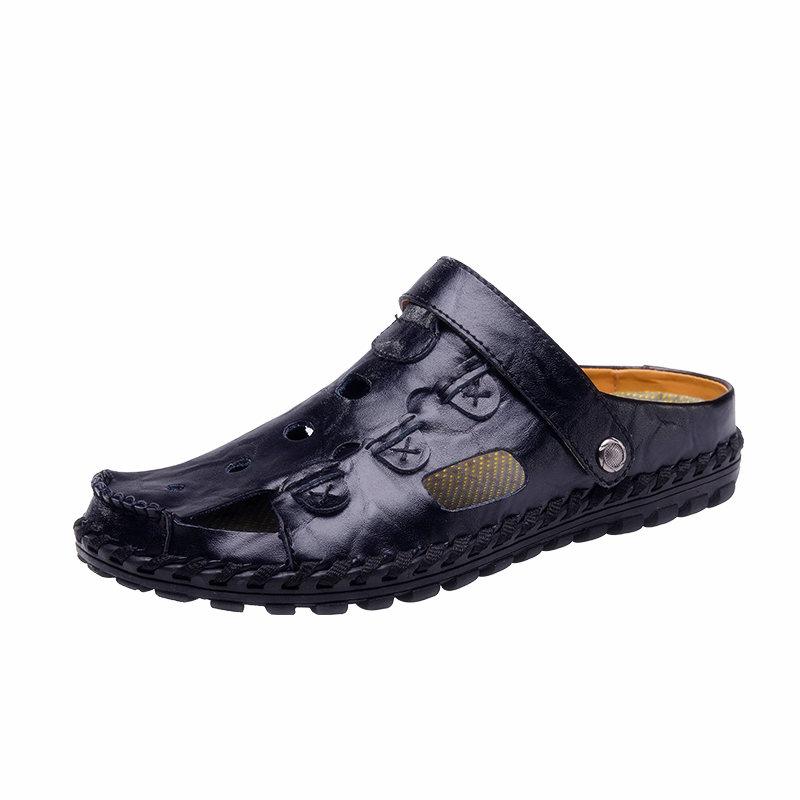 DJSUNNYMIX Black 39 высокое качество мужские сандалии наружная мода подлинная кожаные сандалии мужские летние тапочки breathable sandals