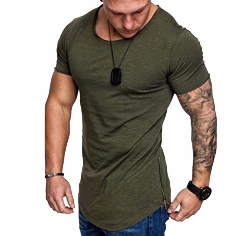 Чистый цвет футболки вокруг шеи Casual Wear коротким рукавом Slim Fit T-Шир Xuanxuan diary Армейский Зеленый M фото