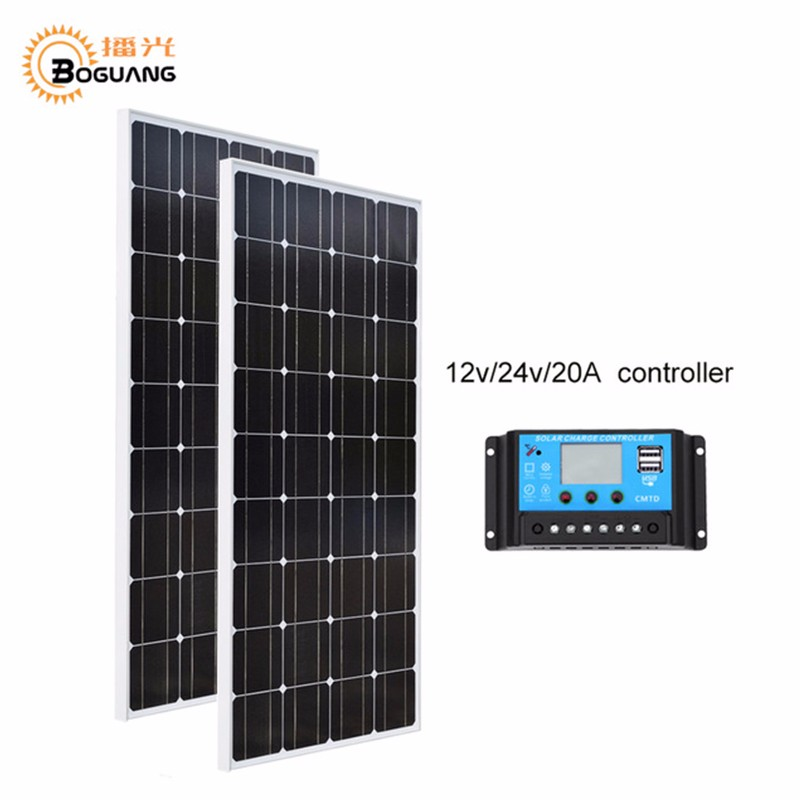 Boguang solarparts 2x100w monocrystalline solar module high efficiency back contact solar panel cell system diy kits rv marine home camp