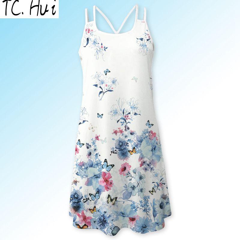 Летние спагетти ремень Танк шифон Платье летнее платье майка Женщины TCHui L фото