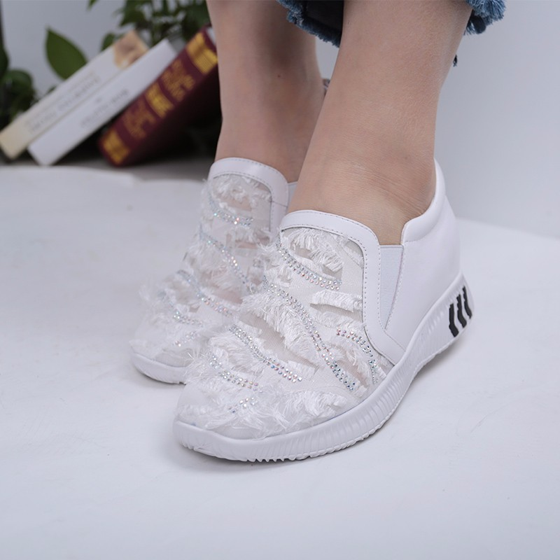 SHUANGFENG White 40 donna in 2017 spring new women platform casual shoes suede leather wedges comfortable ladies flats