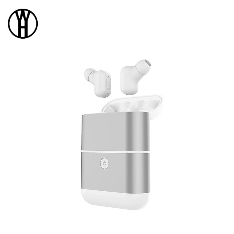 WH Серебристый rondaful tws mini bluetooth earphone headset fone de ouvido handsfree binaural wireless in ear earphone earbud with power bank