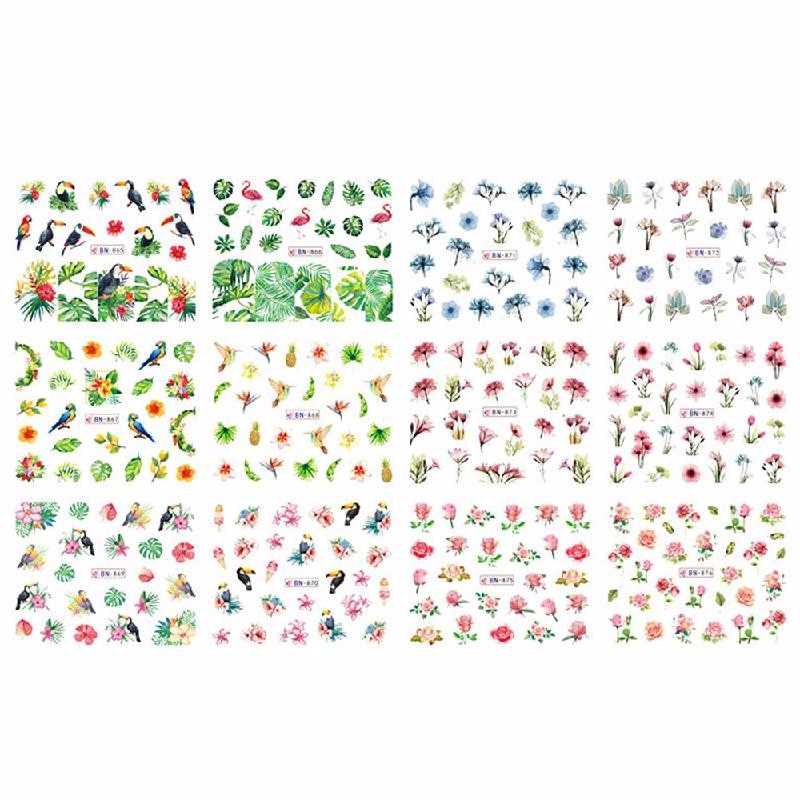 HOMEGEEK Многоцветный nail foils patch 50sheets lot mix fashion designs adhesive nail decals full wraps beauty manicure tools nail sticker decorations
