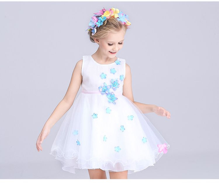 TOSJC A22 7T 150cm flower girl dresses wedding easter junior bridesmaid white curl princess girl dress