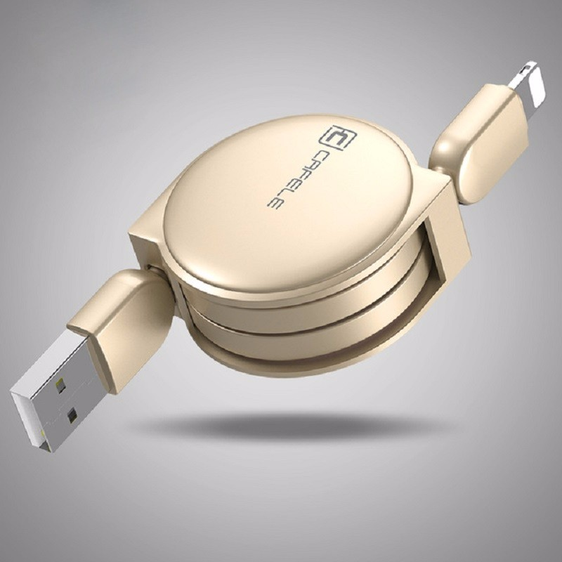 Cafele Gold 1M baseus new era 0 9m lightning 8pin charging data sync retractable charge cable for iphone 7 plus 7 etc ios 10 9 8 gold