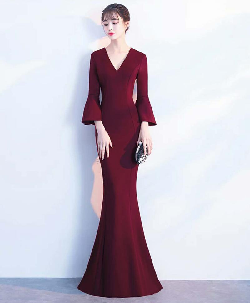 Русалочное вечернее платье Kalinnu Красное вино S фото