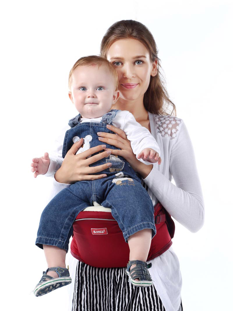 Red baby hipseat four seasons breathable baby shoulder carrier cotton baby carrier infant backpack for kids toddler sling md bd08
