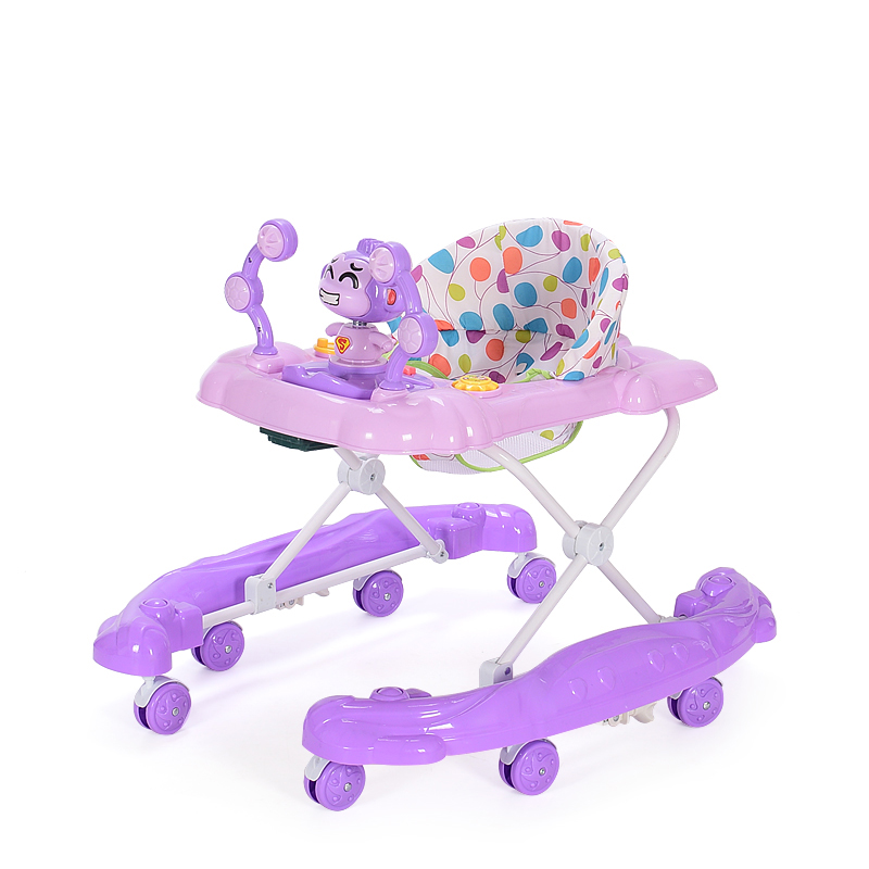 Фиолетовый цвет 4-6 месяцев new arrival baby walker multifunctional anti rollover baby scooter u type with music plate 7 18 months portable folding walkers