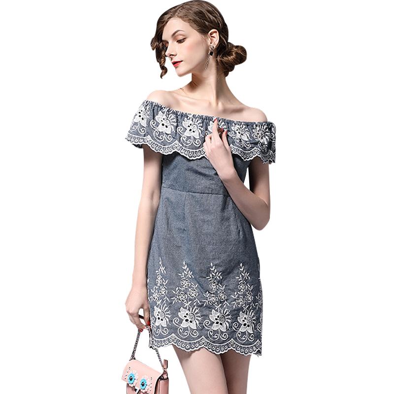 BURDULLY Небесно-голубой S women s casual slash neck off shoulder striped mini dress