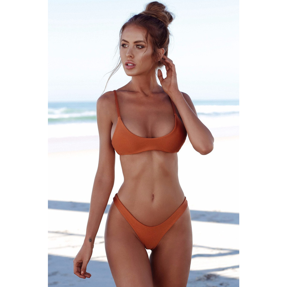 M&M Brown S brazilian tanga bikini 2016 swimwear women big bow thong bikini bottom sexy brazilian biquini bralette trajes de bano women