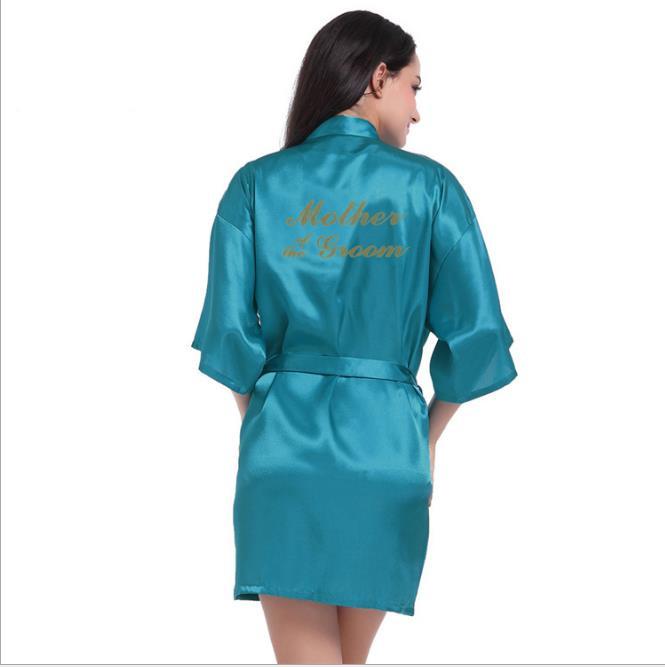 Рубашка Свадебный шелковый атлас Халат Халат Халат Новый oye Павлиний синий S фото