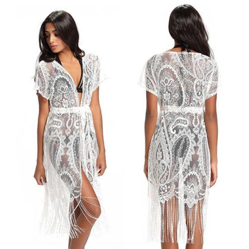 Бикини Купальники покрывают пляжное платье Летние женщины CANIS белый M фото