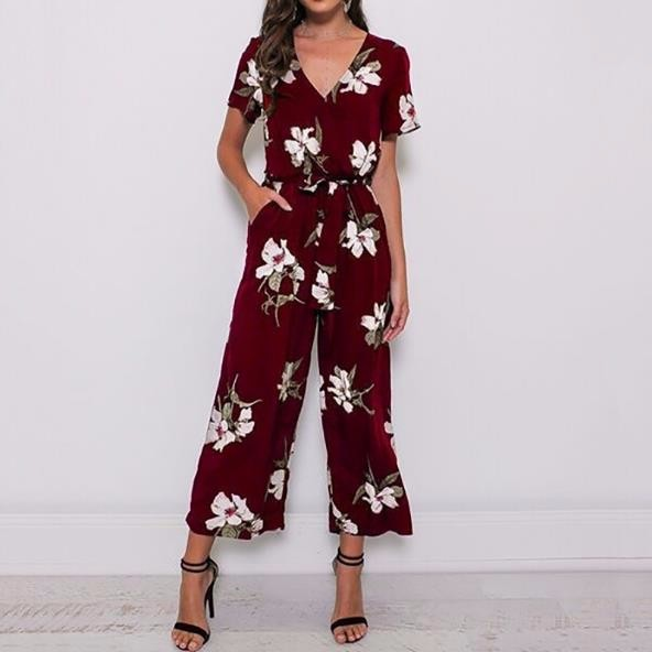 Мода V-образным вырезом с поясом талии с коротким рукавом комбинезон с коротким рукавом с коротким рукавом oye Красное вино XXXL фото