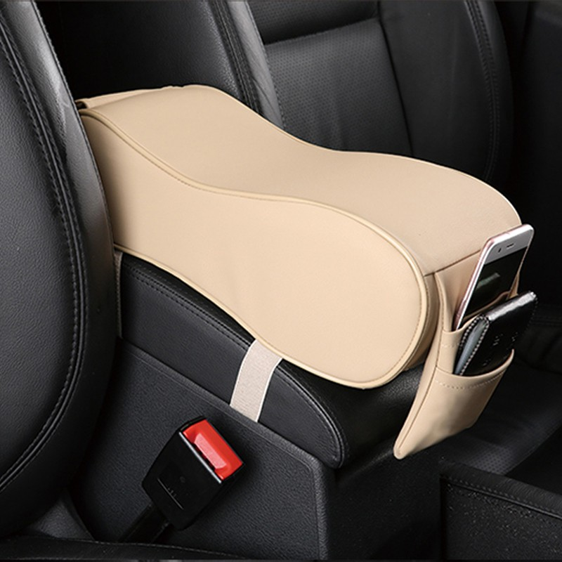 LunDa Бежевый autoyouth pu leather car armrest pad memory foam universal auto armrests covers with phone pocket for vw bmw audi honda