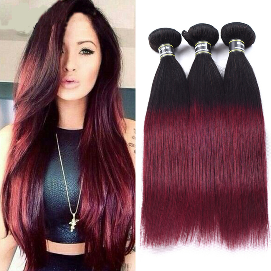 Ombre человеческие волосы прямые волосы ombre 3 пучки девственные preuvian волосы weave Amazing Star T1B 99J 16 16 16 фото