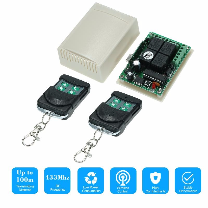 dodocool черный dc 12v 2 ch rf wireless remote control lighting switch system 4 button transmitter 1 x 2 channel receiver 315 433 mhz